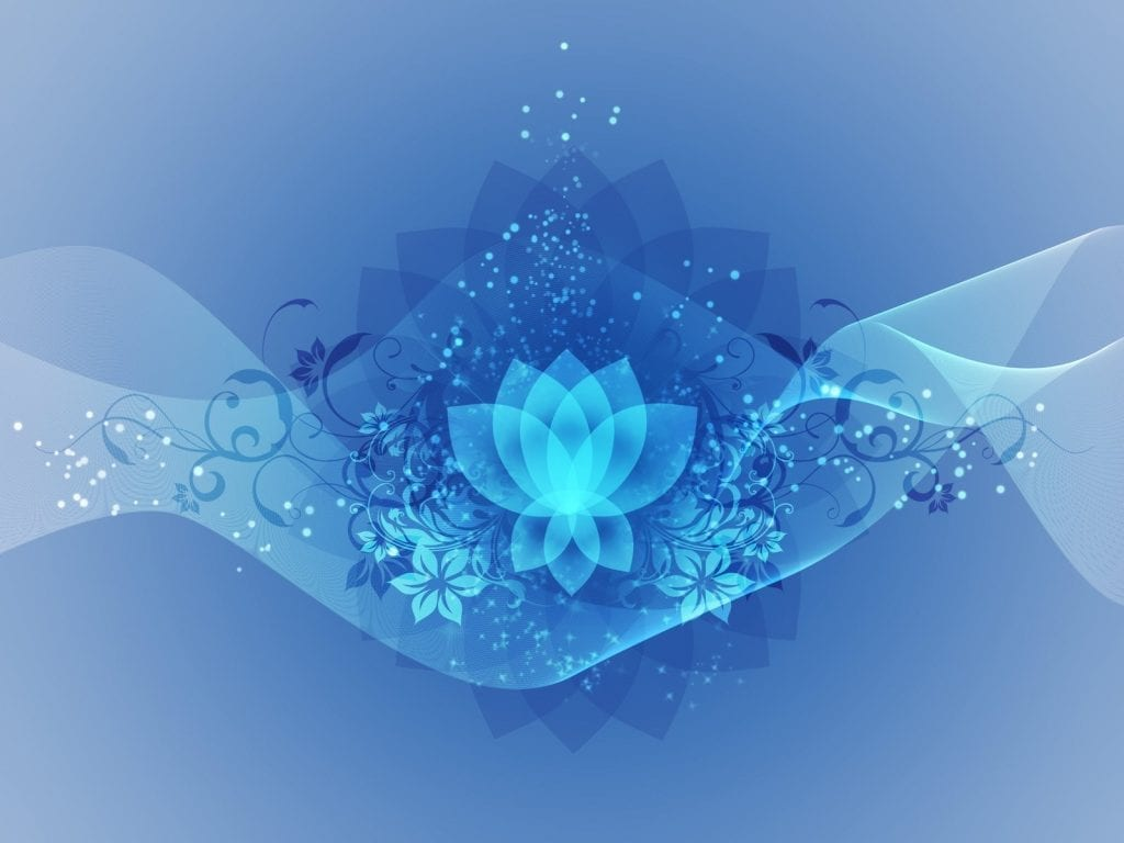 a blue graphic design featuring a lotus flower