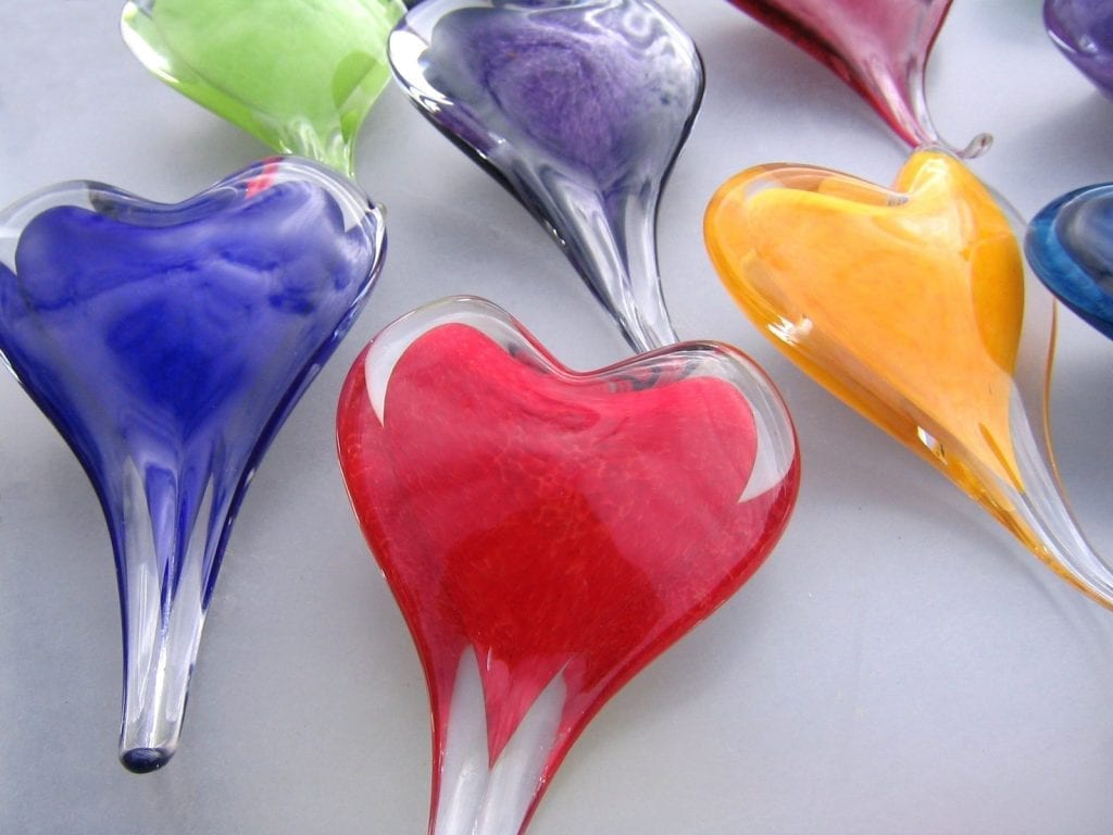 glass hearts of different colors