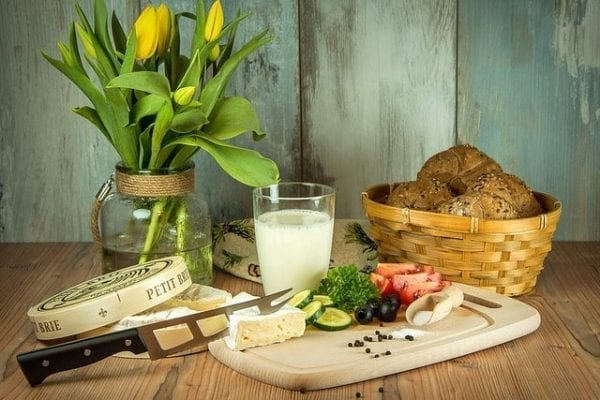 meal of cheese, vegetables and bread
