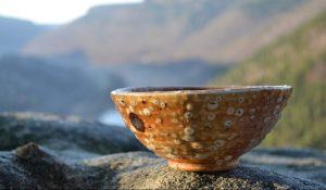 bowl on a rock
