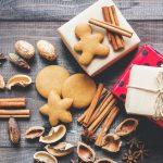 Christmas cookies, nut shells and cinnamon