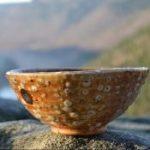 a pottery bowl on a rock